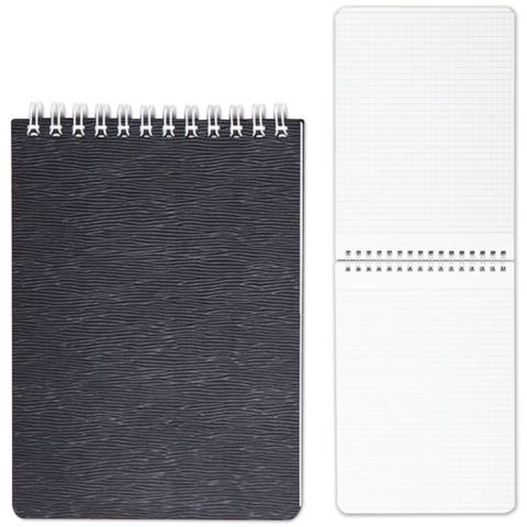 Блокнот А6, 80 л., гребень, пластиковая обложка, HATBER, «WOOD-черный», 110×145 мм, 80Б6B1гр 02201