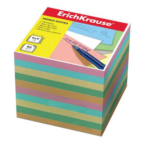 Блок для записей ERICH KRAUSE непроклеенный, 9х9х9 см, цветной