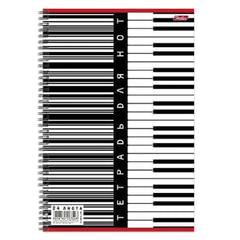 Тетрадь для нот А4, 24 л., HATBER, спираль, вертикальная, «Клавиши», 24ТдН4сп 04040