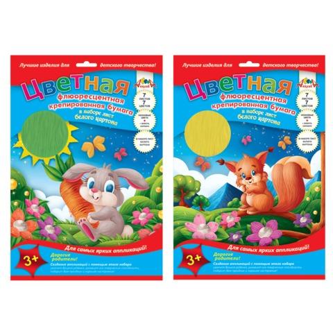 Цветная бумага, А4, крепированная, флуоресцентная, 7 листов, 7 цветов + 1 лист белого картона, АППЛИКА, 206х285 мм