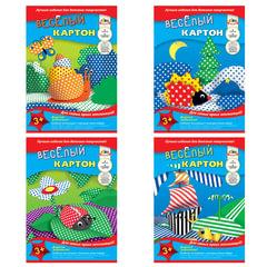 Цветной картон, А4, двусторонний, «веселый», 6 цветов, 215 г/<wbr/>м<sup>2</sup>, АППЛИКА, 205×290 мм