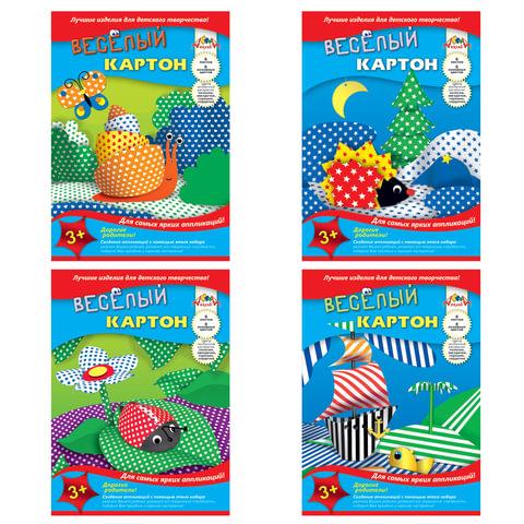 "Цветной картон, А4, двусторонний, ""веселый"", 6 цветов, 215 г/м2, АППЛИКА, 205х290 мм"
