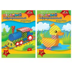 Цветной картон, А4, гофрированный, «Веселый», 5 листов, 5 цветов, упаковка ПЭТ, АППЛИКА, 205×290 мм