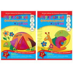 Цветной картон, А4, гофрированный, флуоресцентный, 4 цвета, 180 г/<wbr/>м<sup>2</sup>, АППЛИКА, 205×290 мм