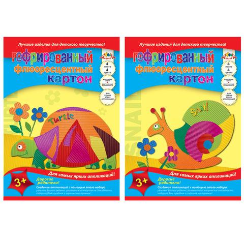 Цветной картон, А4, гофрированный, флуоресцентный, 4 листа, 4 цвета, АППЛИКА, 205х290 мм