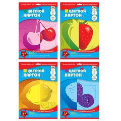 Цветной картон, А4, мелованный двусторонний, 7 цветов, 215 г/<wbr/>м<sup>2</sup>, обложка лак, АППЛИКА, 205×290 мм