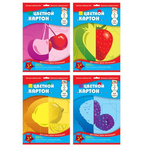 Цветной картон, А4, мелованный двусторонний, лакированная обложка, 7 листов, 7 цветов, АППЛИКА, 205×290 мм