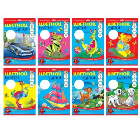 Цветной картон, А4, мелованный, 12 листов, 12 цветов, лакированная обложка, АППЛИКА, 205×290 мм