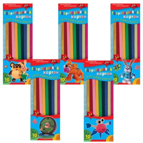 Цветной картон для квиллинга АППЛИКА, гофрированный, 10 цветов, 60 полосок (длина 295 мм, ширина 10 мм)