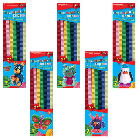 Цветной картон для квиллинга АППЛИКА, гофрированный, 7 цветов, 42 полоски (длина 295 мм, ширина 10 мм)