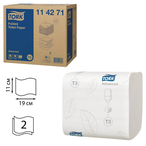 Бумага туалетная TORK (Т3), комплект 36 шт., Advanced, листовая, 242 л., 11×19 см, 2-х слойная, диспенсер 600292, 114271