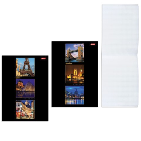 Блокнот А5, 40 л., склейка, выборочный лак, HATBER, «Лондон-Париж», 145×205 мм