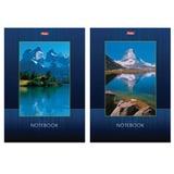 Блокнот А5, 40 л., склейка, выборочный лак, HATBER, «Озеро в горах», 145×205 мм, 40Б5вмB1к
