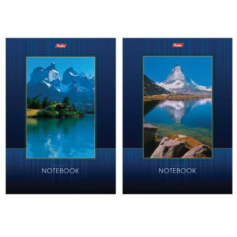 """Блокнот А5, 40 л., склейка, выборочный лак, HATBER, """"Озеро в горах"""", 145х205 мм, 40Б5вмB1к"""