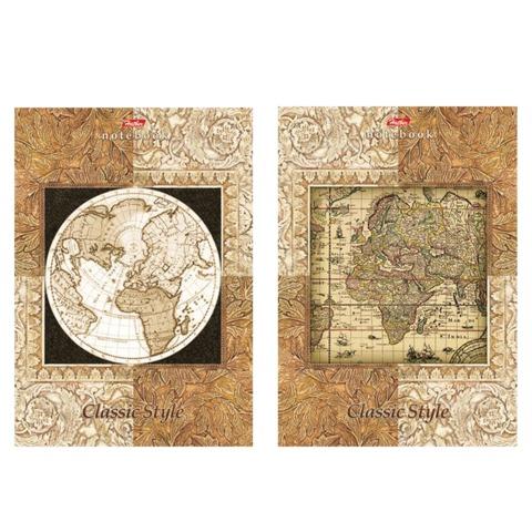 Блокнот А5, 40 л., склейка, выборочный лак, HATBER, «Старинная карта», 145×205 мм