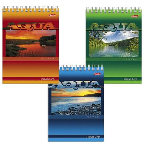 Блокнот А6, 40 л., гребень, мелованный картон обложка, HATBER, «AQUA» («Пейзажи»), 110×145 мм