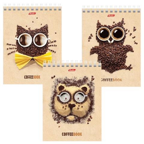 """Блокнот А6, 40 л., гребень, лакированная обложка, HATBER, """"CoffeeBook"""", 110х145 мм, 40Б6B1гр"""