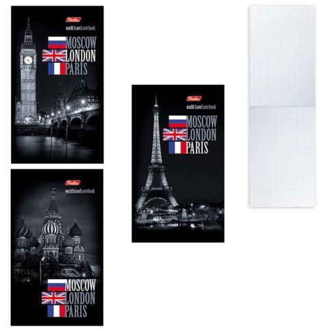 Блокнот А6, 64 л., склейка, мелованный картон обложка, HATBER, «Города», 87×147 мм, 64Б6B1к