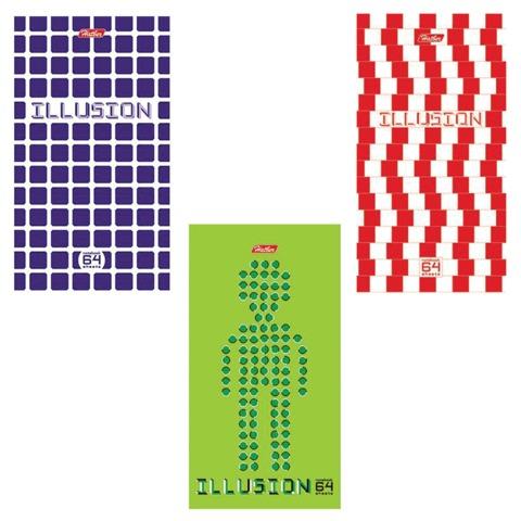 Блокнот А6, 64 л., склейка, мелованный картон обложка, HATBER, «Иллюзия», 87×147 мм
