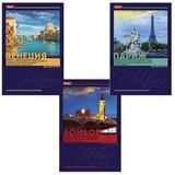 Блокнот А6, 40 л., склейка, обложка ламинированная, HATBER, «Красочные города», 97×155 мм, 40Б6B1к