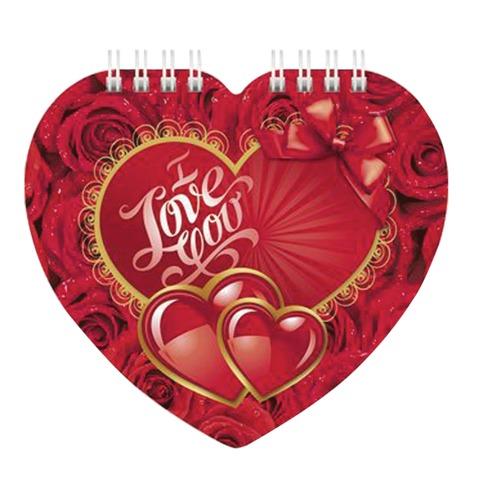 Блокнот А6, 60 л., гребень, фигурная высечка, HATBER, «I love you»