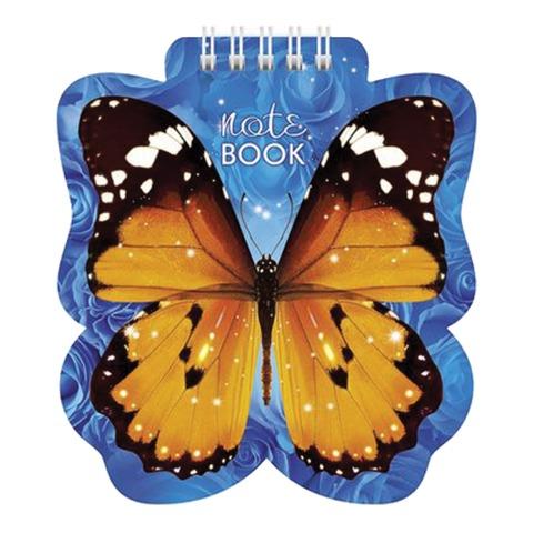 "Блокнот А6, 60 л., гребень, фигурная высечка, HATBER, ""Бабочка"", 60Б6Aгр 09680"