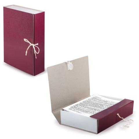 Короб архивный STAFF, 8 см, 100% покрытие бумвинил, 2 х/<wbr/>б завязки, до 700 л., бордовый