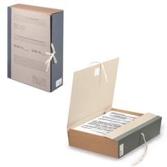 Короб архивный STAFF, 8 см, переплетный картон, корешок — бумвинил, 2 х/<wbr/>б завязки, до 700 л.