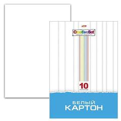 Белый картон, А4, мелованный, 10 листов, 235 г/<wbr/>м<sup>2</sup>, в папке, HATBER «Creative Set», 10Кб4 05806