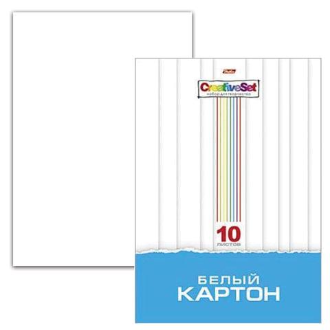 """Белый картон, А4, мелованный, 10 листов, в папке, HATBER, """"Creative Set"""", 200х280 мм, 10Кб4 05806"""
