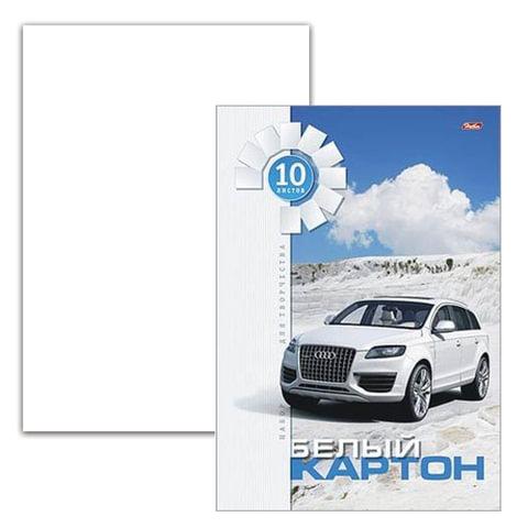 Белый картон, А4, мелованный, 10 листов, в папке, HATBER, «Белая машина», 200×280 мм
