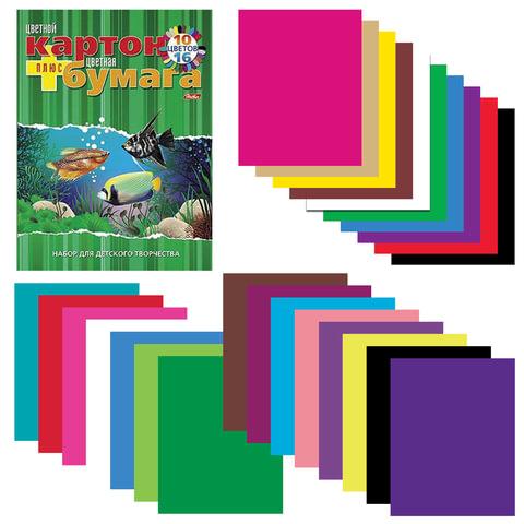 Цветная бумага и цветной картон, А4, склейка, 16+10, HATBER VK, «Аквариум», 195×275 мм