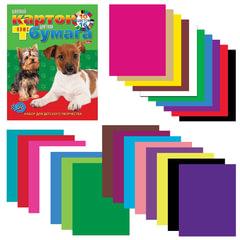 Цветная бумага и цветной картон, А4, 16+10, склейка, HATBER VK «Щенки», 195×275мм, 26НКБ4к 05284
