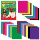 Цветная бумага и цветной картон, А4, склейка, 16+10, HATBER VK, «Щенки», 195×275 мм