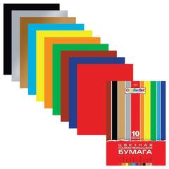 Цветная бумага, А4, самоклеящаяся, 10 цветов, HATBER «Creative», 194×280 мм, 10Бц4с 05934