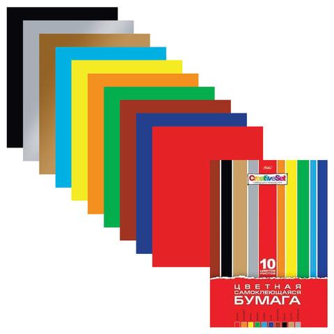 Цветная бумага, А4, самоклеящаяся, 10 листов, 10 цветов, HATBER, «Creative», 194×280 мм
