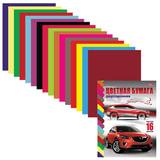 Цветная бумага, А4, двухсторонняя, 16 листов, 16 цветов, HATBER VK, «Автостиль», 195×270 мм