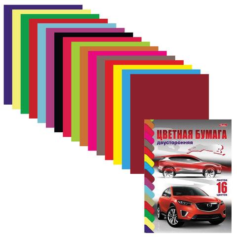Цветная бумага, А4, двухсторонняя, 16 листов, 16 цветов, HATBER VK, «Автостиль», 195×270 мм, 16Бц4 11078
