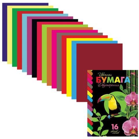 "Цветная бумага, А4, двухсторонняя, 16 листов, 16 цветов, HATBER VK, ""Птичка"", 195х270 мм, 16Бц4 11077"