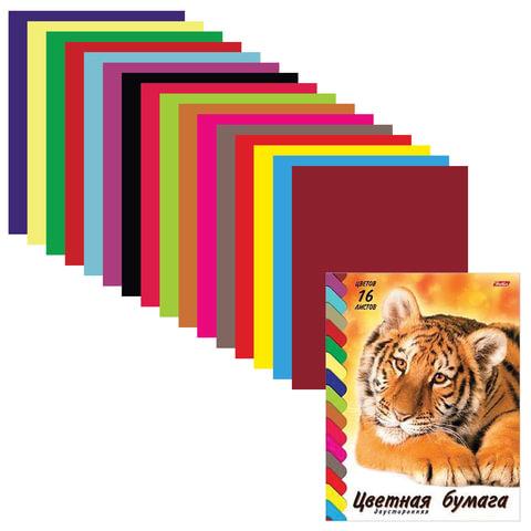"""Цветная бумага, А4, двусторонняя, 16 цветов, HATBER VK """"Тигр"""", 195х270 мм, 16Бц4 08394"""
