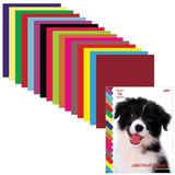 Цветная бумага, А4, двухсторонняя, 16 листов, 16 цветов, HATBER VK, «Щенок», 195×270 мм