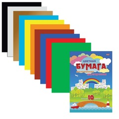 Цветная бумага, А4, двусторонняя, мелованная, 10 цветов, HATBER «Город», 195×280 мм, 10Бц4м 14034