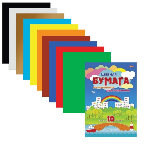 Цветная бумага, А4, двухсторонняя, мелованная, 10 листов, 10 цветов, HATBER, «Город», 195×280 мм