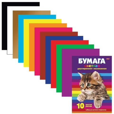 Цветная бумага, А4, двухсторонняя, мелованная, 10 листов, 10 цветов, HATBER, «Котенок», 195×280 мм