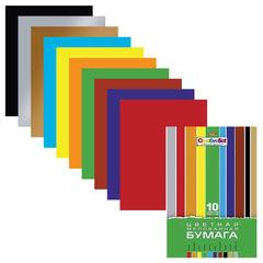 Цветная бумага, А4, мелованная, 10 цветов, HATBER «Creative», 195×280 мм, 10Бц4м 05930