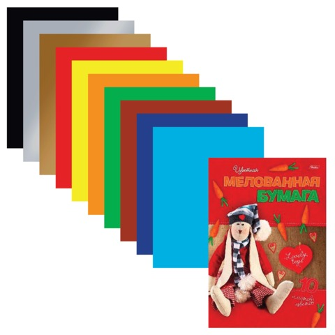 Цветная бумага, А4, мелованная, 10 листов, 10 цветов, HATBER, «Lovely Toys», 195×280 мм