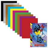 Цветной картон, А4, мелованный, склейка, 10 листов, 10 цветов, HATBER VK, «Бабочки», 195×275 мм