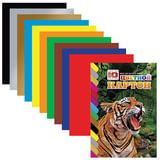 Цветной картон, А4, мелованный, склейка, 10 листов, 10 цветов, HATBER VK, «Тигр», 195×275 мм