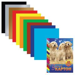 Цветной картон, А4, мелованный, склейка, 10 листов, 10 цветов, HATBER VK, «Щенки», 195×275 мм, 10Кц4к 01021