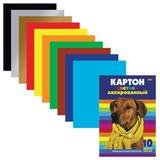 Цветной картон, А4, лакированный, 10 листов, 10 цветов, HATBER, «Собака», 10Кц4 14036